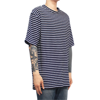 [CLACO] SQUARE STRIPE TEE (BLACK)