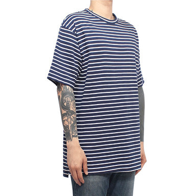 [CLACO] SQUARE STRIPE TEE (NAVY)
