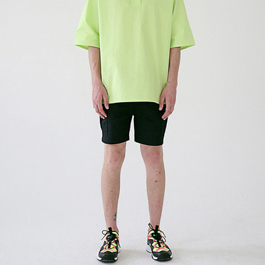 [MASSNOUN] MSNU TWO POCKET CARGO SHORT PANTS MSESP004-BK