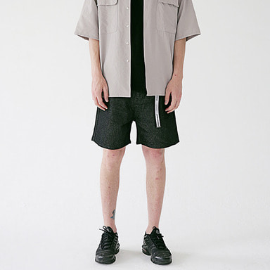 [MASSNOUN] NOR WASHED WIDE DENIM SHORT PANTS MSEJP011-BK