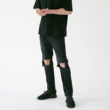 [MASSNOUN] STN BLACK DESTROYED DENIM PANTS MSEJP014-BK