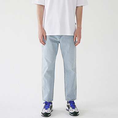 [MASSNOUN] STN CROP REGULAR LIGHT DENIM PANTS MSEJP012-BL