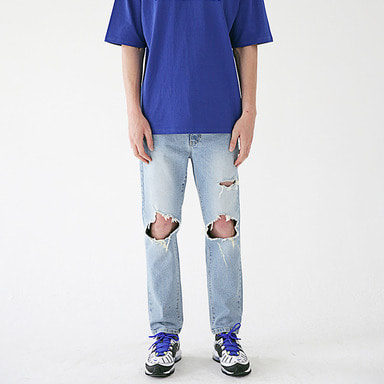 [MASSNOUN] STN LIGHT DESTROYED DENIM PANTS MSEJP015-BL