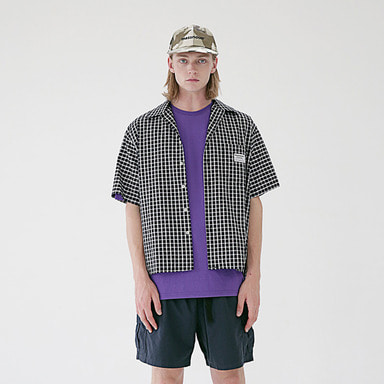 [MASSNOUN] SL LOGO BASIC MD CHECK SHIRTS MSEST008-NV