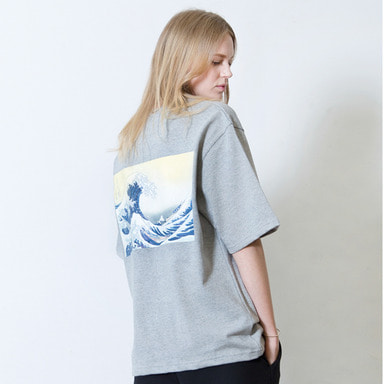 [SUMMER SALE 20% OFF] [WHOLOVESART] UNISEX WAVE POCKET SHORT T-SHIRT (GRAY)
