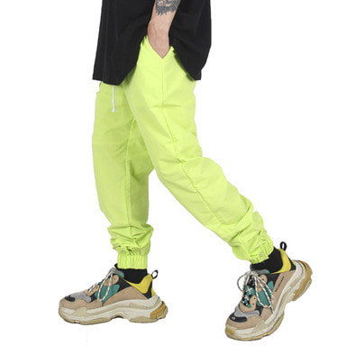 [XSACKY] BUTTON JOGGER PANTS NEON GREEN