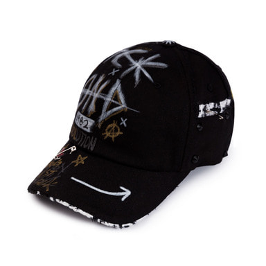 [BLACKBLOND] BBD HALF TWEED MONSTER GRAFFITI CAP (BLACK)