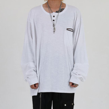 [INNOVANT] HENLEY NECK OVER LONG SLEEVE (WHITE)