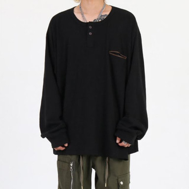 [INNOVANT] HENLEY NECK OVER LONG SLEEVE (BLACK)
