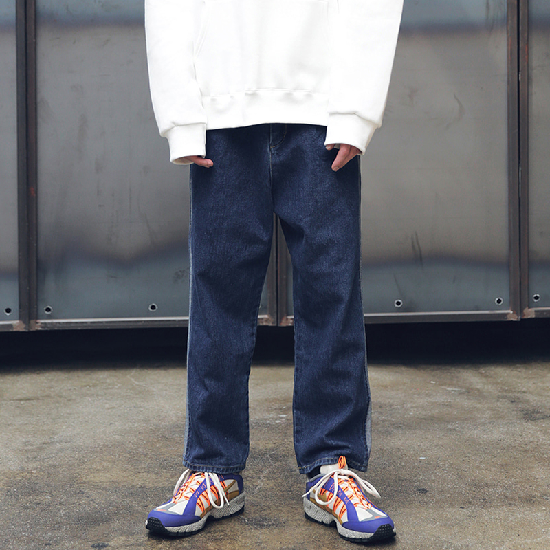 [MASSNOUN] NOR WASHED INCISION DENIM PANTS MFEJP003-BL
