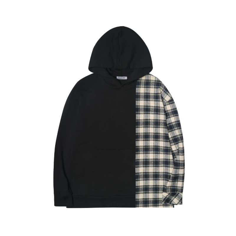 [DEADEND] BLACK DIVIDED PULLOVER HOODIE