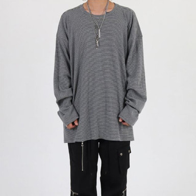 [INNOVANT] STRIPE OVER LONG SLEEVE (GRAY)