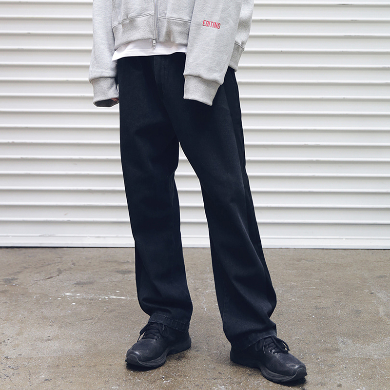 [MASSNOUN] SIDE LINE DENIM SLACKS MFEJP001-BK