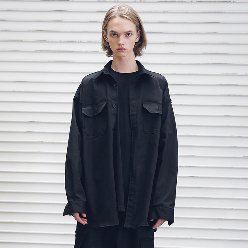 [MASSNOUN] AMPLE OVER-FIT SIDEZIP SHIRTS MFEST001-BK