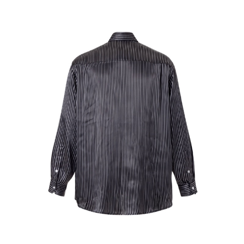 OVERSIZED STRIPE SILKY SHIRT BLACK